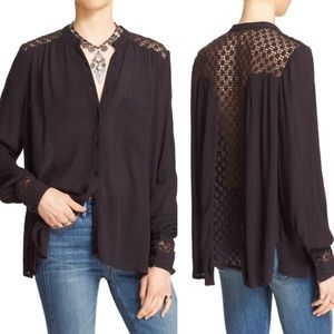 Free People 'The Best' Crochet Button Down